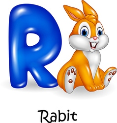Cartoon of R letter for Rabbit Cartoon vector