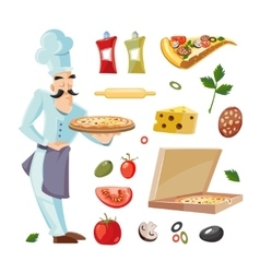 Cartoon set with ingridients of pizza vector