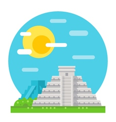 chichen itza flat design landmark vector image