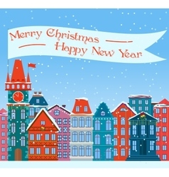 Christmas town Xmas snowy old vector image