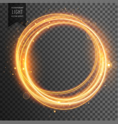 Circular golden light effect transparent vector
