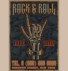 Color vintage poster on theme rock and roll vector