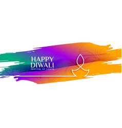 Colorful happy diwali watercolor banner with line vector