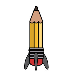 Colorful silhouette image pencil in rocket form vector