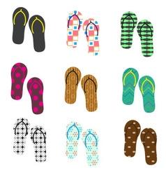 Colorful variation of flip flops summer shoes vector