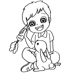 Coloring book child feeding rabbits vector