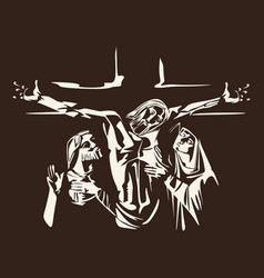 crucified jesus and his disciples vector image