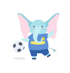 Cute elephant playing with ball funny animal vector