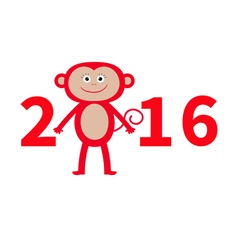 Cute monkey New Year 2016 Baby Greeting card vector image