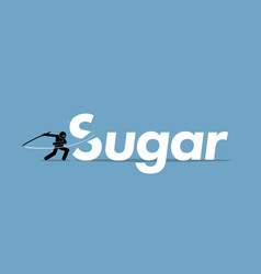 Cutting sugar for healthy diet artwork concept vector