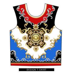 Design scarf with golden baroque elements vector