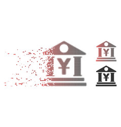 dissipated pixel halftone yen bank building icon vector image