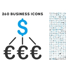 Dollar Euro Links Icon with Flat Set vector image