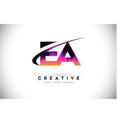 Ea e a grunge letter logo with purple vibrant vector