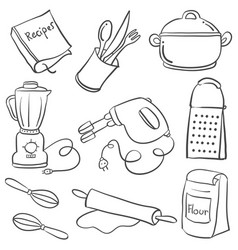 Equipment kitchen various doodle style vector