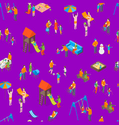 families spending free time 3d seamless pattern vector image