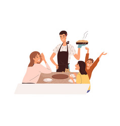 Father serving baked meal happy kids rejoicing vector