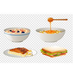 four different breakfast menu vector image