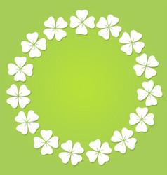 four leaf clover circular frame vector image