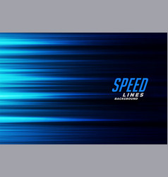 Glowing blue fast motion speed lines background vector