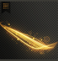 Golden light streak with sparkles transparent vector