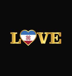 Golden love typography mari-el flag design vector