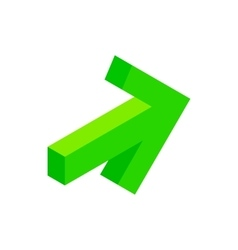 Green arrow isometric 3d icon vector image