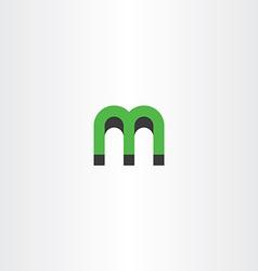 Green letter m logo 3d effect vector
