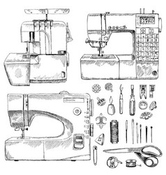 hand drawn sketch sewing set vector image