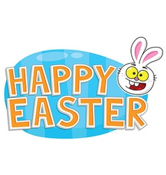 Happy Easter Text Bunny and Egg vector image