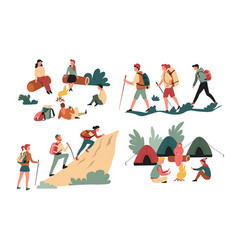 hiking friends backpacking and camping mountains vector image