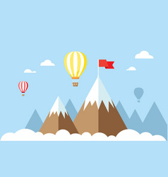 hot air balloons and clouds in sky vector image