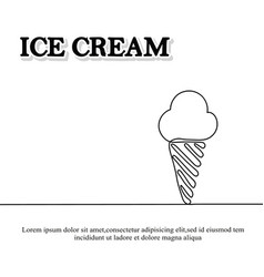 Ice cream is black continuous line drawing vector