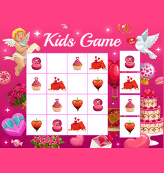 kids game riddle for valentines with cupid vector image