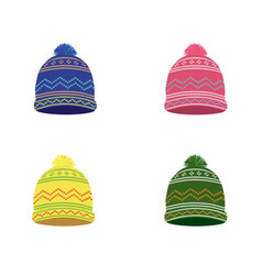 knitted winter hat set vector image