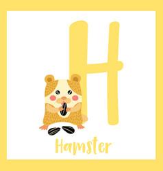 Letter h vocabulary hamster eating sunflower seeds vector