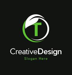 Letter t circle leaf creative business logo vector
