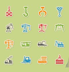 Lifting machines icon set vector