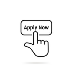Linear hand with black apply now button vector