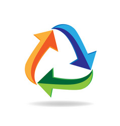 logo recycle arrows business card symbol of reduce vector image