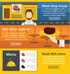 meat reataurant banner horizonatal set flat style vector image