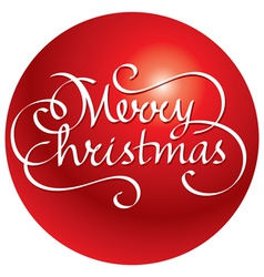 merry christmas hand lettering and ball vector image