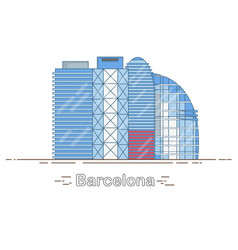 minimal modern barcelona city linear skyline vector image