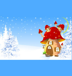 mushroom house in the winter forest vector image