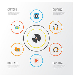 Music flat icons set collection of ear muffs vector