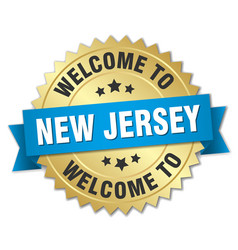 new jersey 3d gold badge with blue ribbon vector image