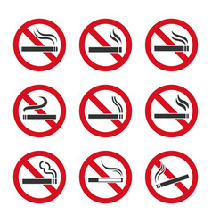 no smoking icon set smoking is prohibited sign vector image