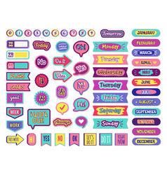Notepad stickers to do sticky for planner agenda vector