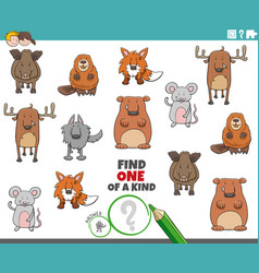 one a kind game for children with animals vector image