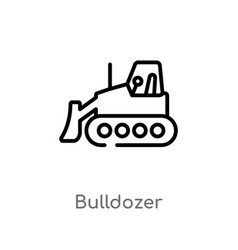 Outline bulldozer icon isolated black simple line vector